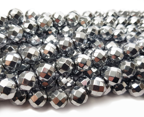 12mm Silver hematite faceted round beads