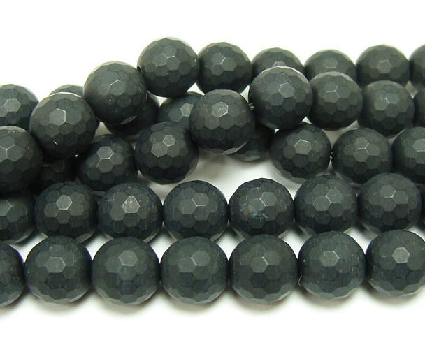 12mm  15.5 inches Black matte agate/onyx faceted round beads