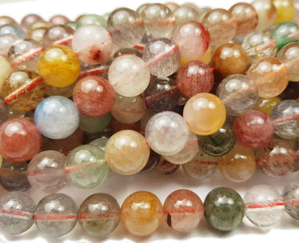 8mm Multi/Rainbow Rutilated Quartz Smooth Round Beads