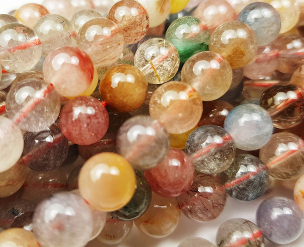 8mm Multi/Rainbow Rutilated Quartz Smooth Round Beads