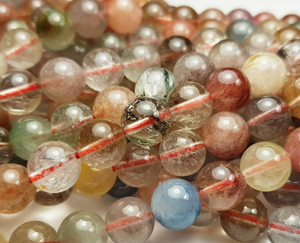 10mm Multi/Rainbow Rutilated Quartz Smooth Round Beads