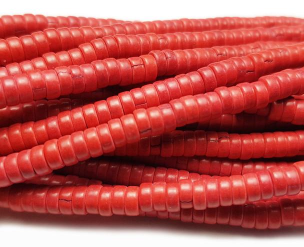 2x4mm Orange Red Howlite Heishi Beads