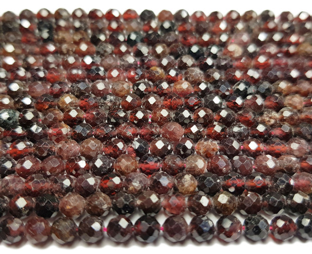 4mm 16 inches Faceted Red Garnet Round Beads