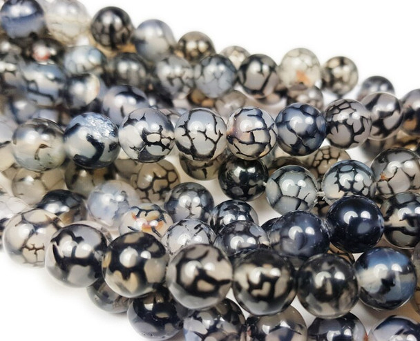 10mm Black Web Agate Smooth Round Beads