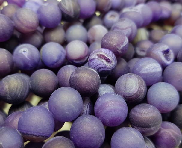 10mm Purple Matte Druzy Quarz Agate Round Beads