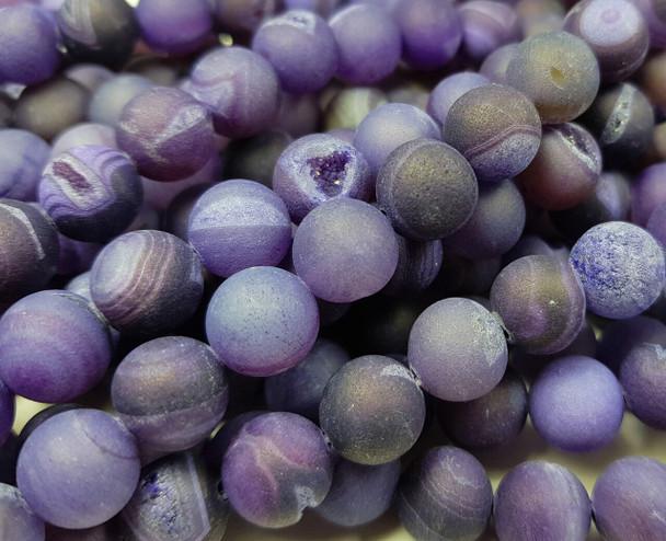 8mm Purple Matte Druzy Quarz Agate Round Beads
