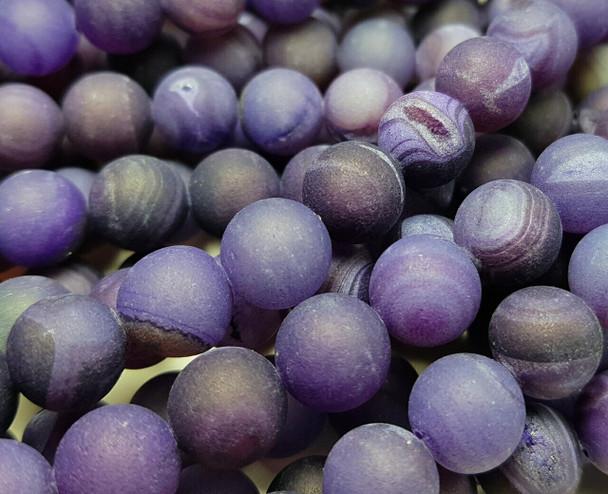 12mm Purple Matte Druzy Quarz Agate Round Beads