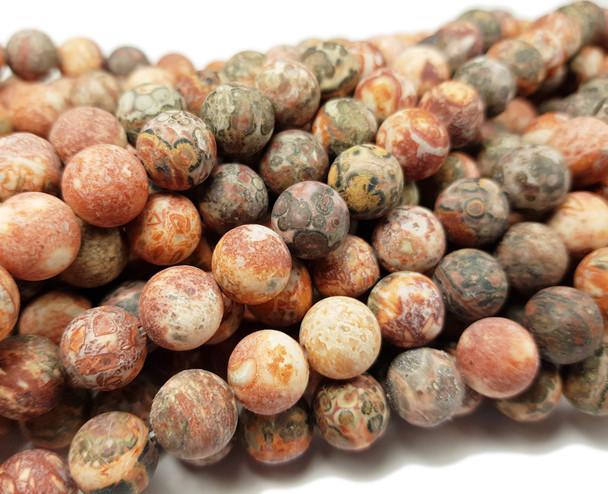 10mm Red Leopard Skin Jasper Matte Round Beads