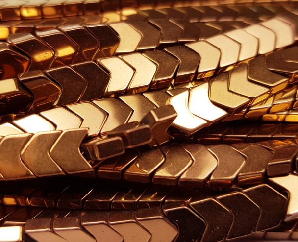 6x3mm Brown Hematite Shiny V-Shaped Arrow Beads