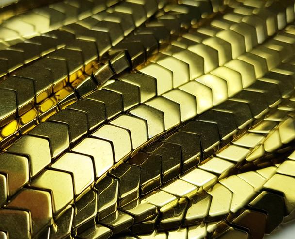 6x3mm Light Gold Hematite Shiny V-Shaped Arrow Beads