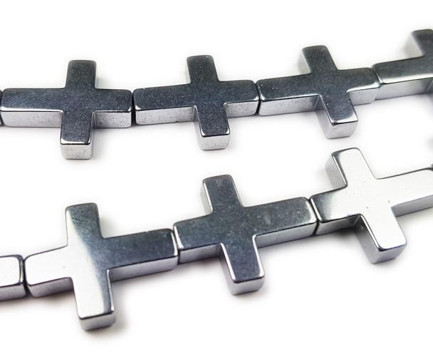 14x17mm Silver Hematite Shiny Cross Beads