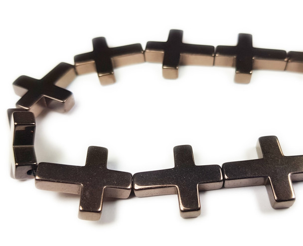 14x17mm Coffee Brown Hematite Shiny Cross Beads