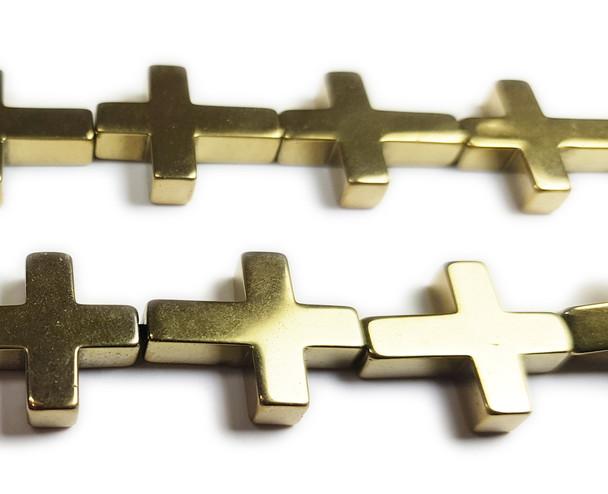 14x17mm Light Gold Hematite Shiny Cross Beads