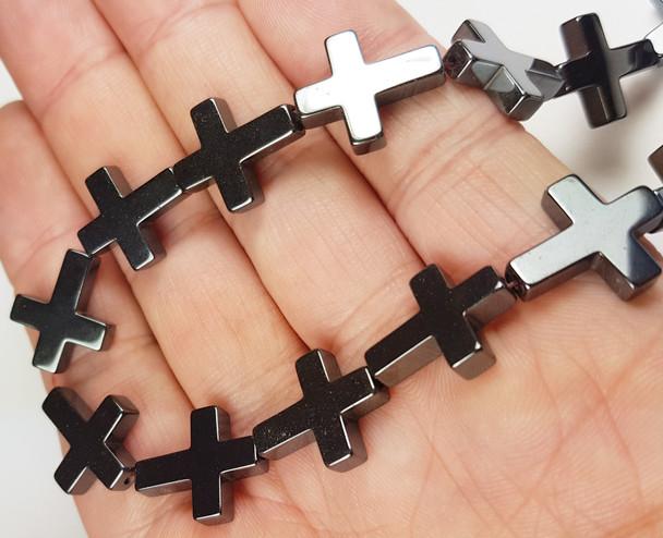 14x17mm Iron Gray Hematite Shiny Cross Beads