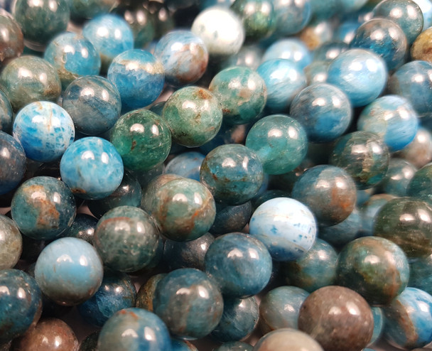 6mm Natural Blue Apatite Smooth Round Beads AB Quality
