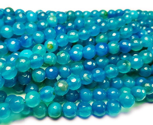6mm Sea Blue Translucent Agate Faceted Round Beads