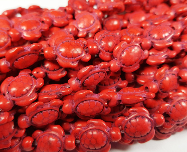 13x17mm 23 Beads Red Howlite Carved Swimming Sea Turtle Beads