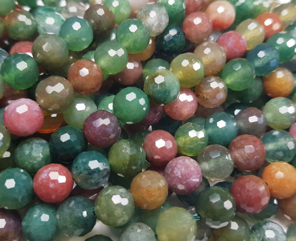 8mm Finely Cut Shiny Indian Agate Faceted Beads