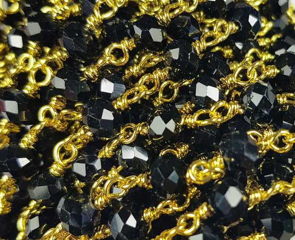 5x6mm Black Glass Beaded Gold-Plated Chain