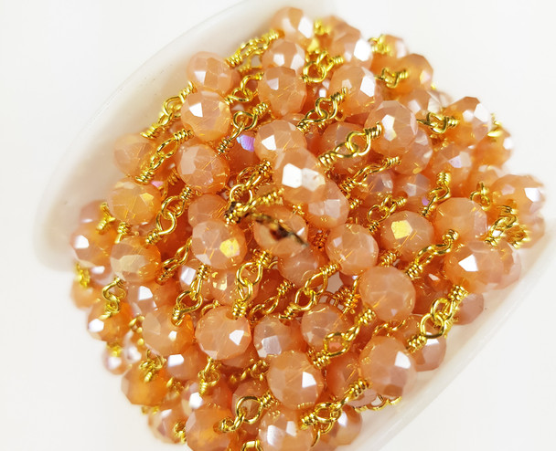 5x6mm Soft Cranberry Glass Beaded Gold-Plated Chain