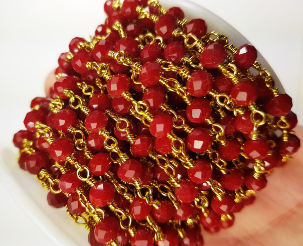 5x6mm Ruby Red Glass Beaded Gold-Plated Chain