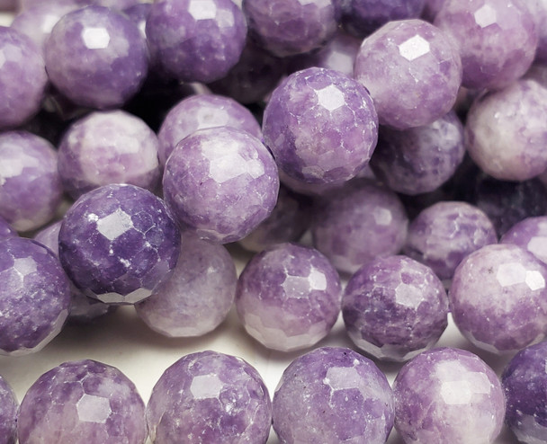 10mm Finely Cut Lepidolite Purple Round Beads