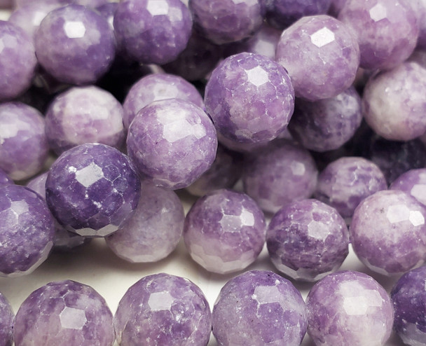 6mm Finely Cut Lepidolite Purple Round Beads