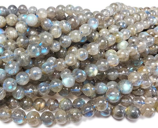 7.3mm Labradorite Smooth Round Beads With Blue Iridescence