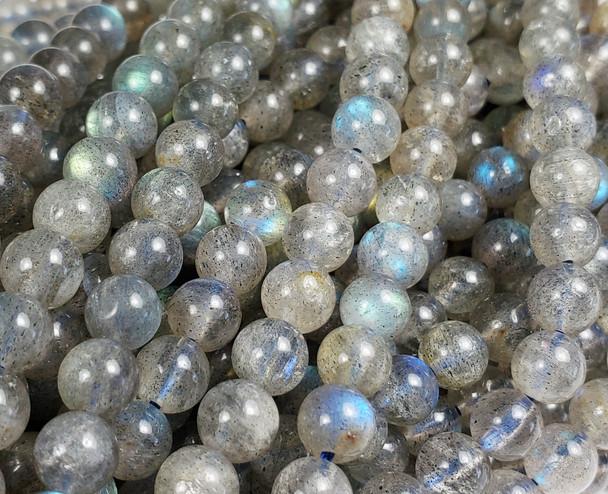 5.6mm Labradorite Smooth Round Beads With Blue Iridescence
