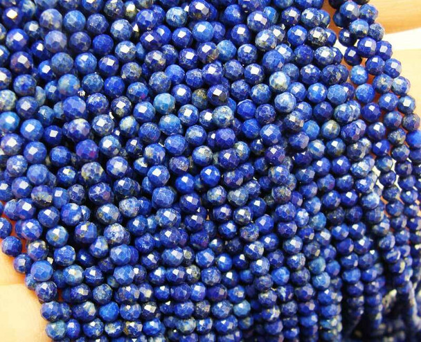 4mm Finely Cut Lapis Faceted Round Beads