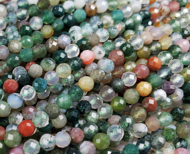 3.3mm Finely Cut Indian Agate Faceted Beads