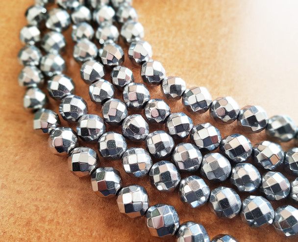 6mm Hematite Silver Faceted Round Beads