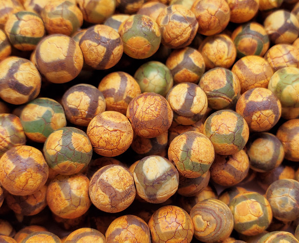 8mm Antiqued Brown Green Soccer Matte Agate Beads
