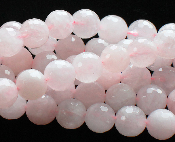 12mm Rose quartz faceted round beads