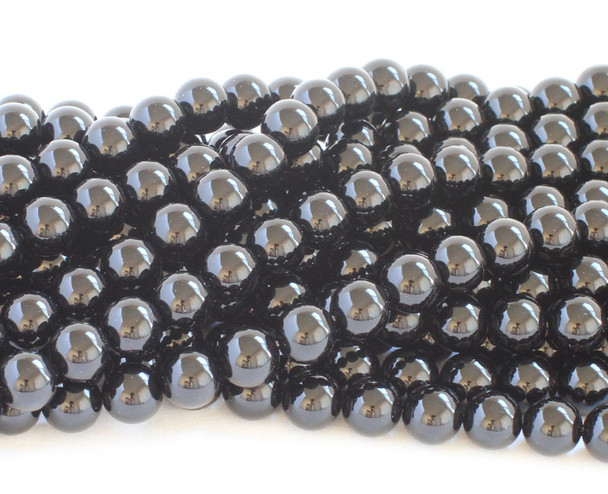 10mm Black onyx smooth round beads