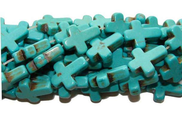 "12x15mm  16"" strand Turquoise blue howlite cross beads"