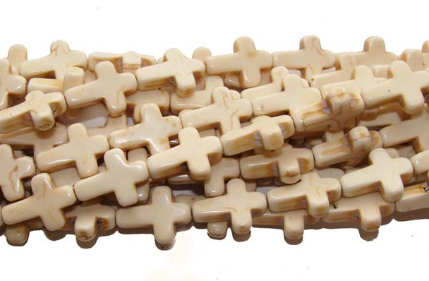 "12x15mm  16"" strand  white Howlite cross beads"