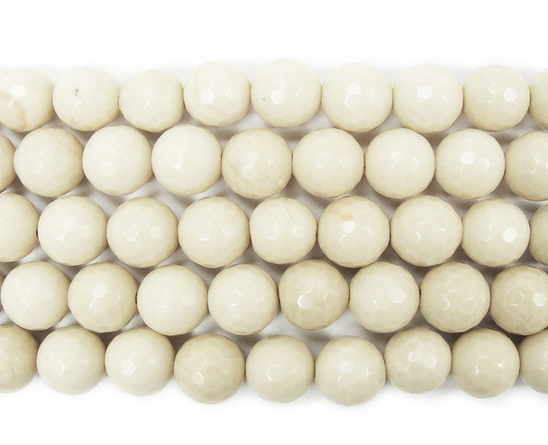 4mm White petrified wood agate faceted round beads