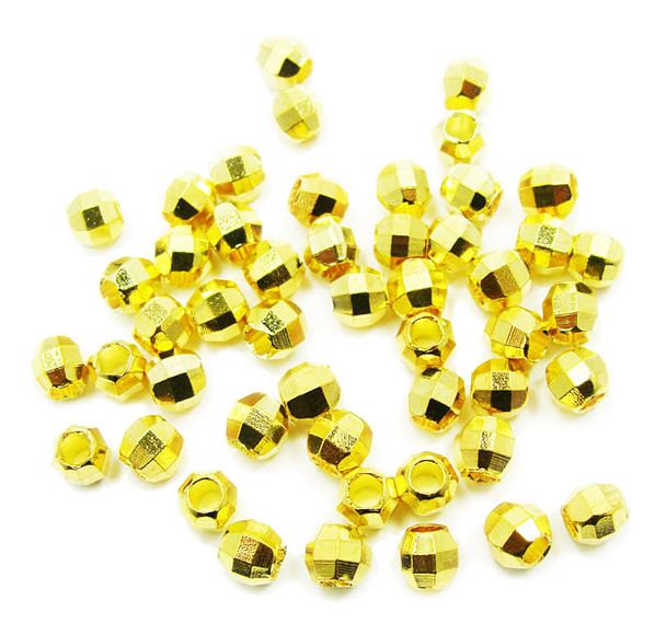 4mm  48 - 50 pieces 22k gold plated faceted round beads