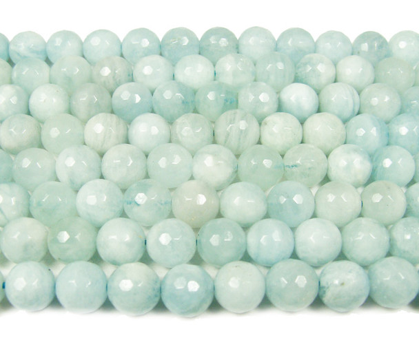 8mm High Quality Aquamarine Faceted Round Beads