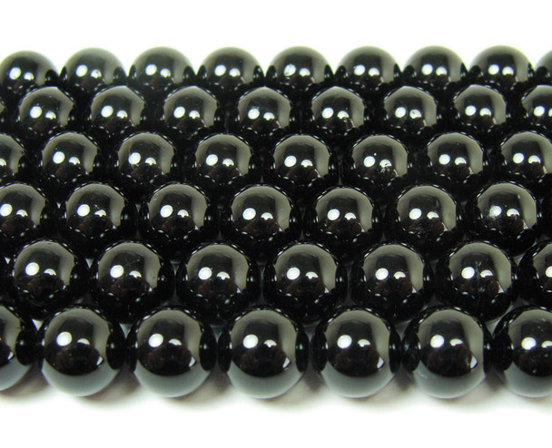 Natural black tourmaline round beads