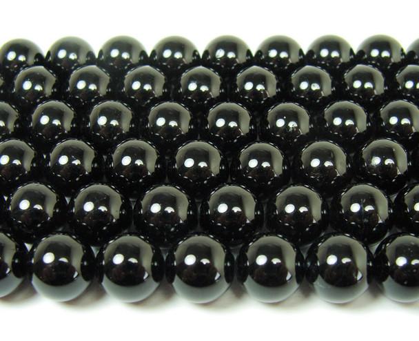 Natural black tourmaline round beads