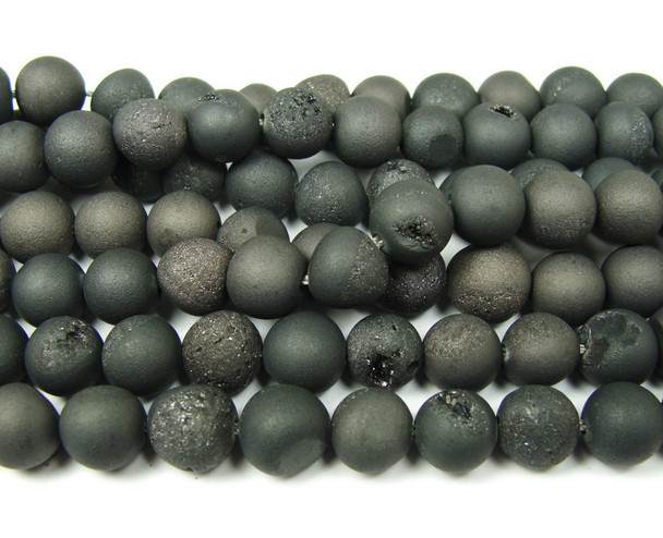 8mm  15 inch Black electroplated druzy agate round beads