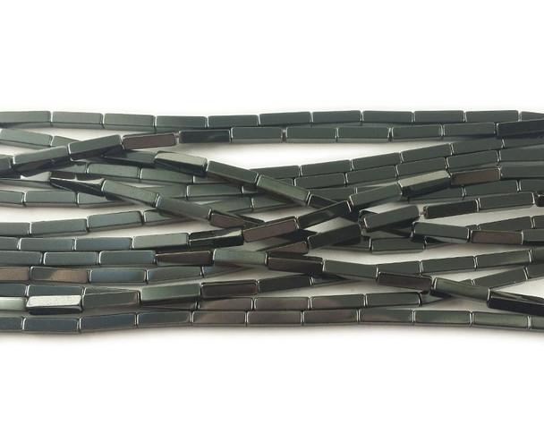 2x8mm Dark gray hematite rectangle beads