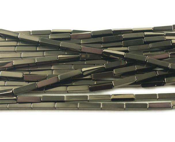 2x8mm Iron gray hematite rectangle beads