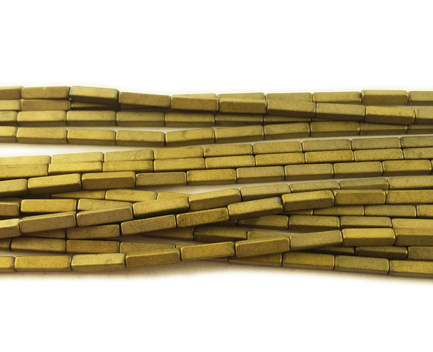 2x8mm Light gold hematite matte rectangle beads