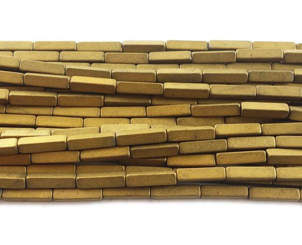 2x8mm Gold hematite matte rectangle beads
