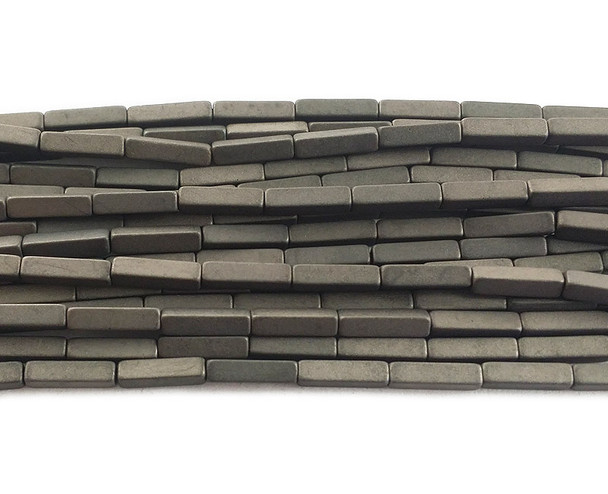 2x8mm Iron gray hematite matte rectangle beads