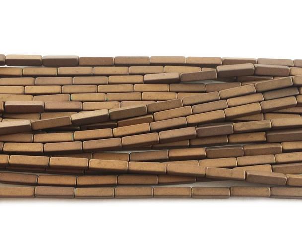 2x8mm Bronze brown hematite matte rectangle beads