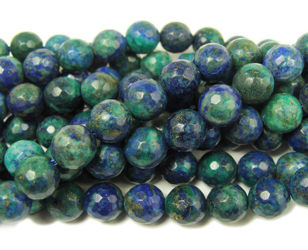 Azurite faceted round beads